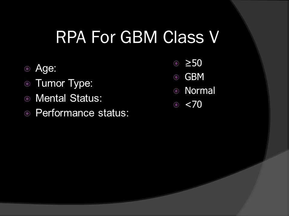 RPA For GBM Class V Age: Tumor Type: Mental Status: