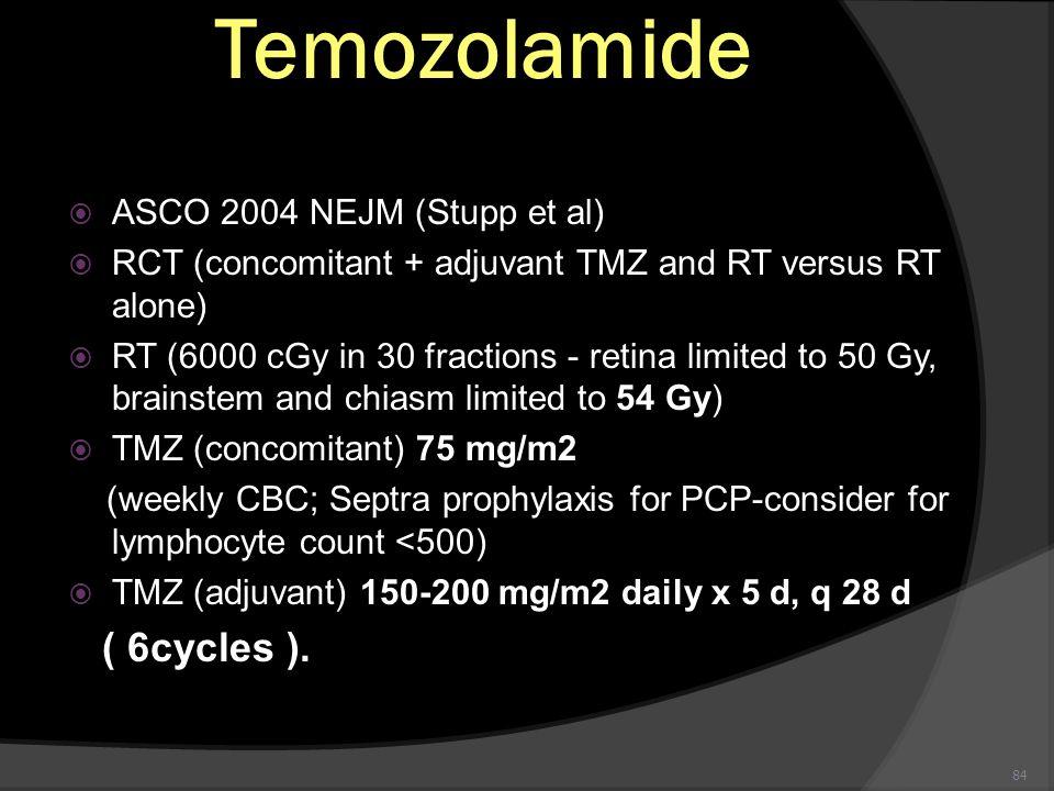 Temozolamide ( 6cycles ). ASCO 2004 NEJM (Stupp et al)