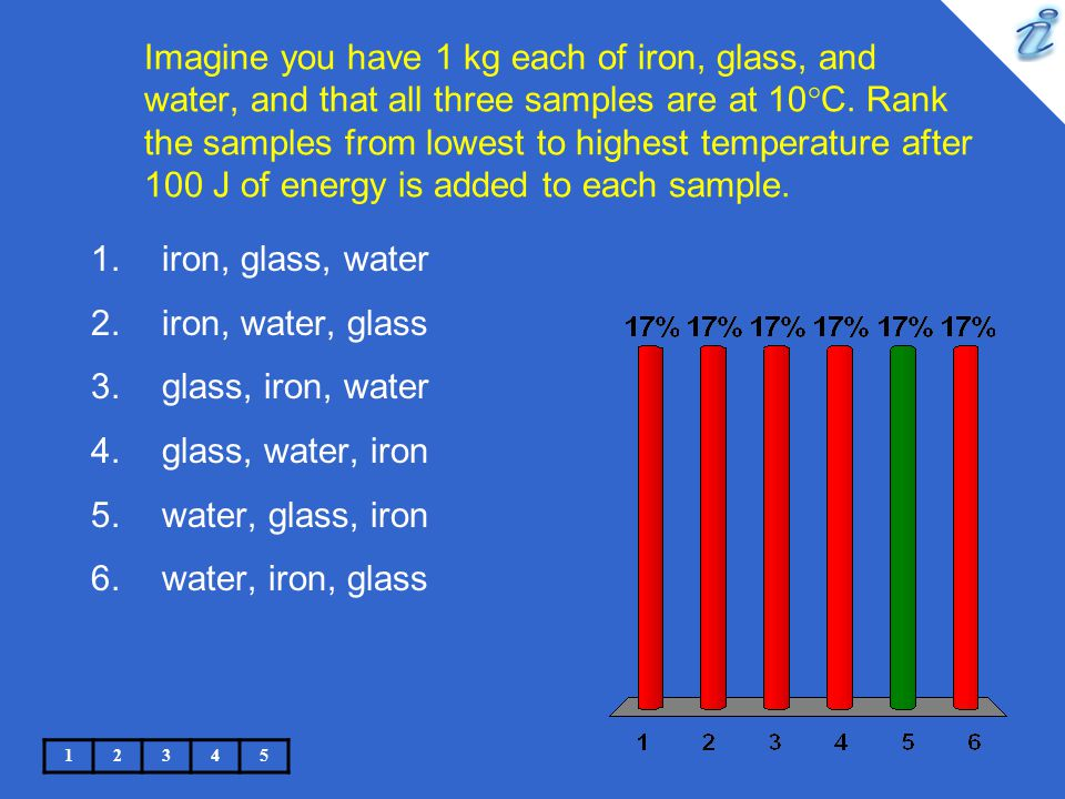 Imagine you have 1 kg each of iron, glass, and water, and that all three samples are at 10°C. Rank the samples from lowest to highest temperature after 100 J of energy is added to each sample.