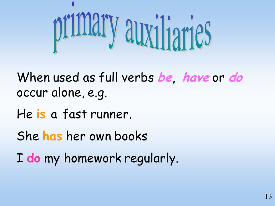 primary auxiliaries When used as full verbs be, have or do occur alone, e.g. He is a fast runner. She has her own books.