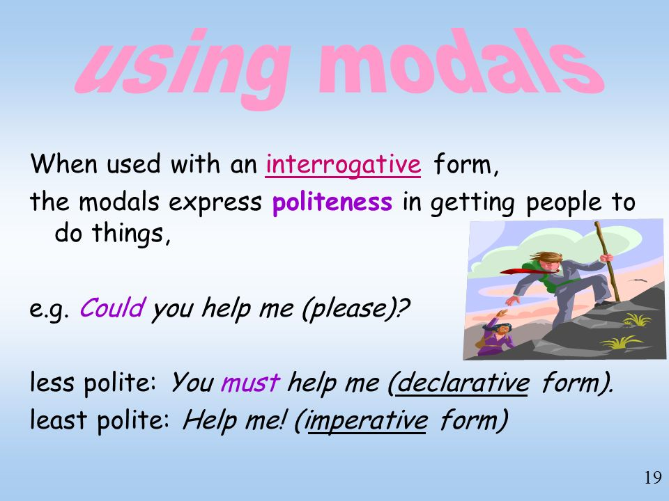 using modals When used with an interrogative form,