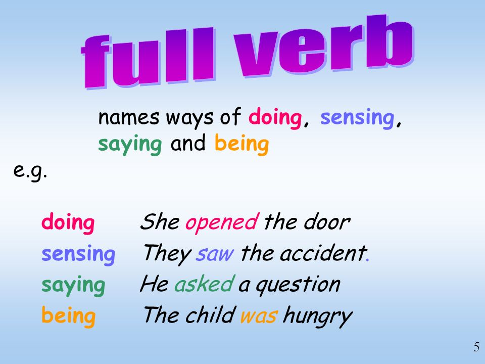 full verb names ways of doing, sensing, saying and being e.g.