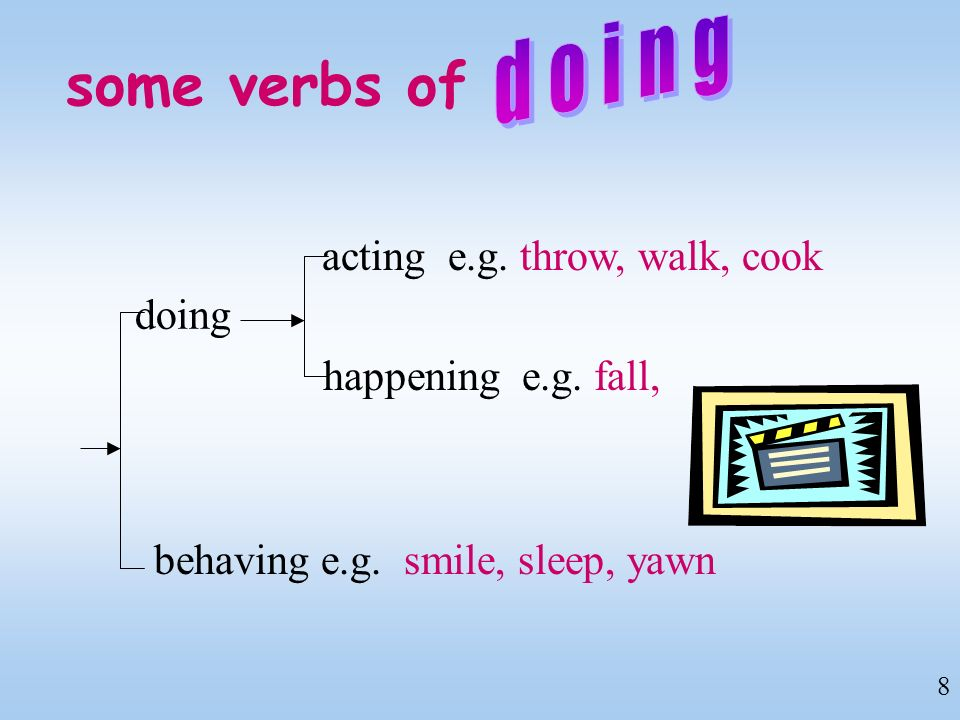 some verbs of doing doing acting e.g. throw, walk, cook