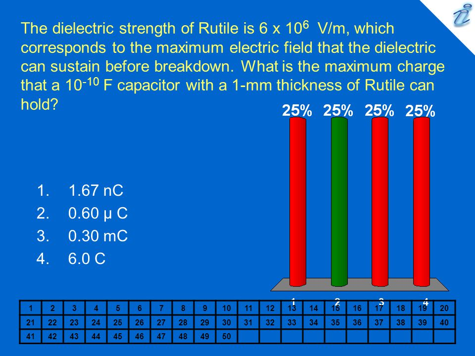 The dielectric strength of Rutile is 6 x 106 V/m, which corresponds to the maximum electric field that the dielectric can sustain before breakdown. What is the maximum charge that a 10-10 F capacitor with a 1-mm thickness of Rutile can hold