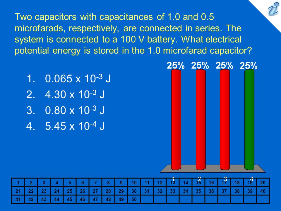 Two capacitors with capacitances of 1. 0 and 0