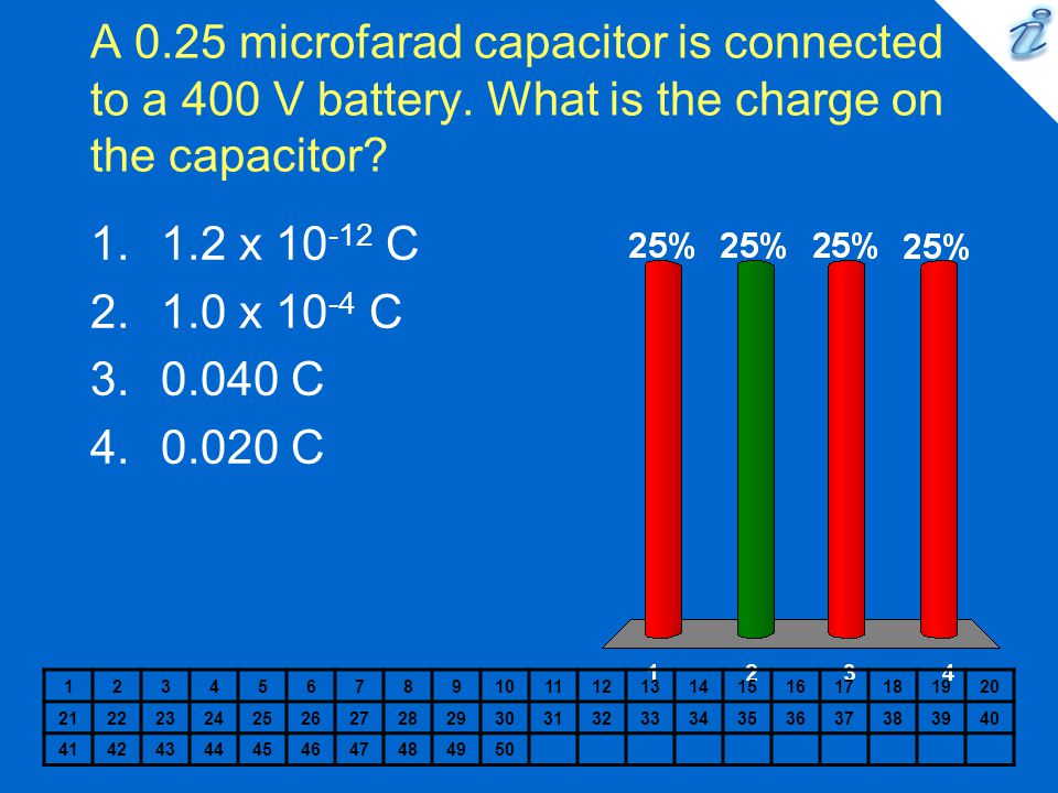 A 0. 25 microfarad capacitor is connected to a 400 V battery