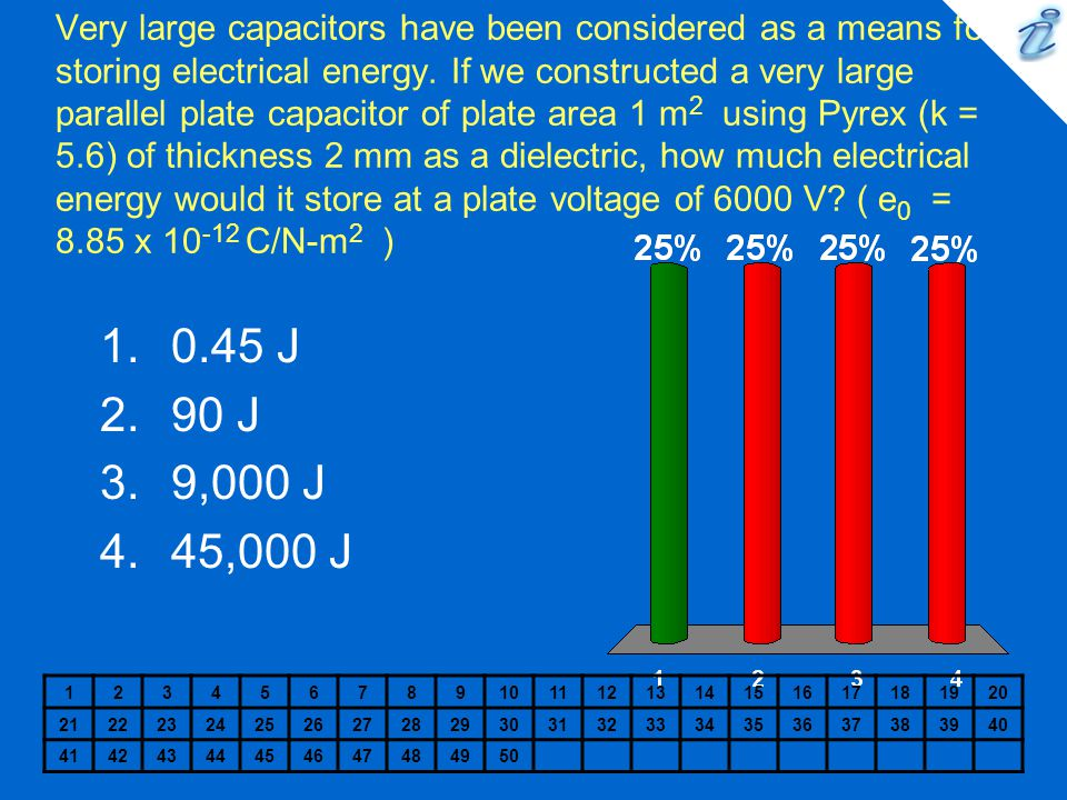 Very large capacitors have been considered as a means for storing electrical energy. If we constructed a very large parallel plate capacitor of plate area 1 m2 using Pyrex (k = 5.6) of thickness 2 mm as a dielectric, how much electrical energy would it store at a plate voltage of 6000 V ( e0 = 8.85 x 10-12 C/N-m2 )
