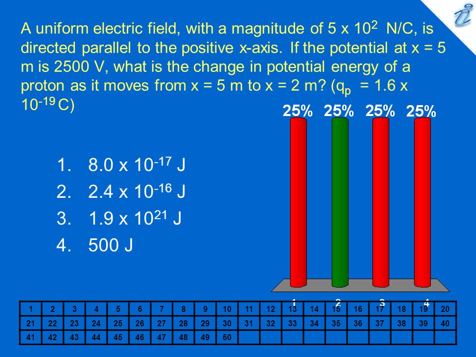 A uniform electric field, with a magnitude of 5 x 102 N/C, is directed parallel to the positive x-axis. If the potential at x = 5 m is 2500 V, what is the change in potential energy of a proton as it moves from x = 5 m to x = 2 m (qp = 1.6 x 10-19 C)
