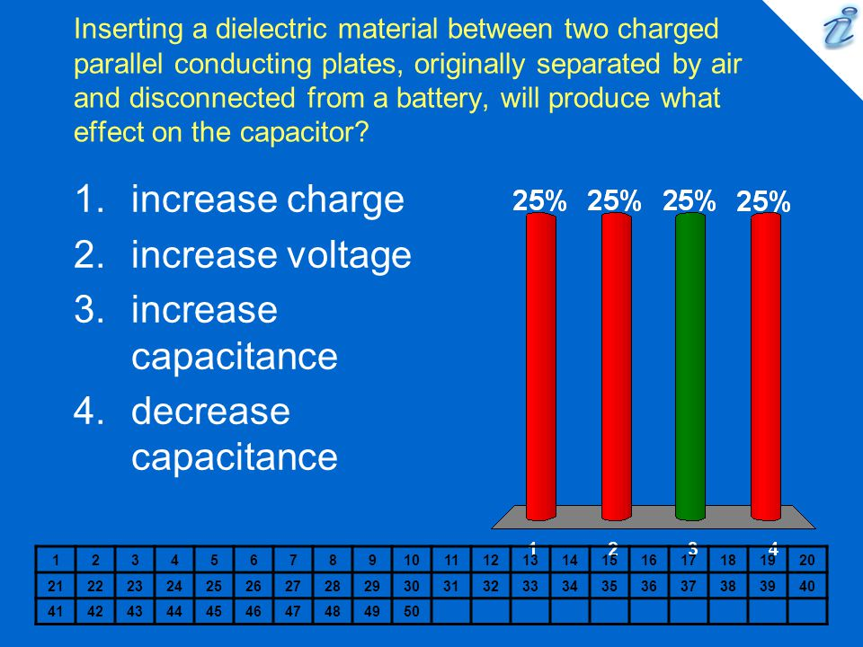 increase charge increase voltage increase capacitance