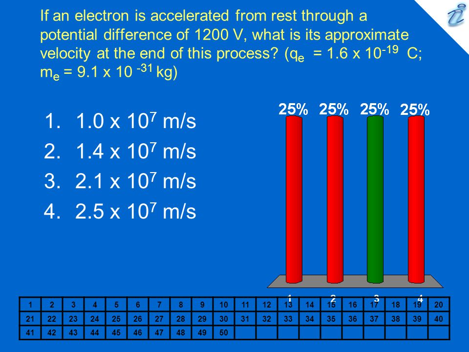 If an electron is accelerated from rest through a potential difference of 1200 V, what is its approximate velocity at the end of this process (qe = 1.6 x 10-19 C; me = 9.1 x 10 -31 kg)