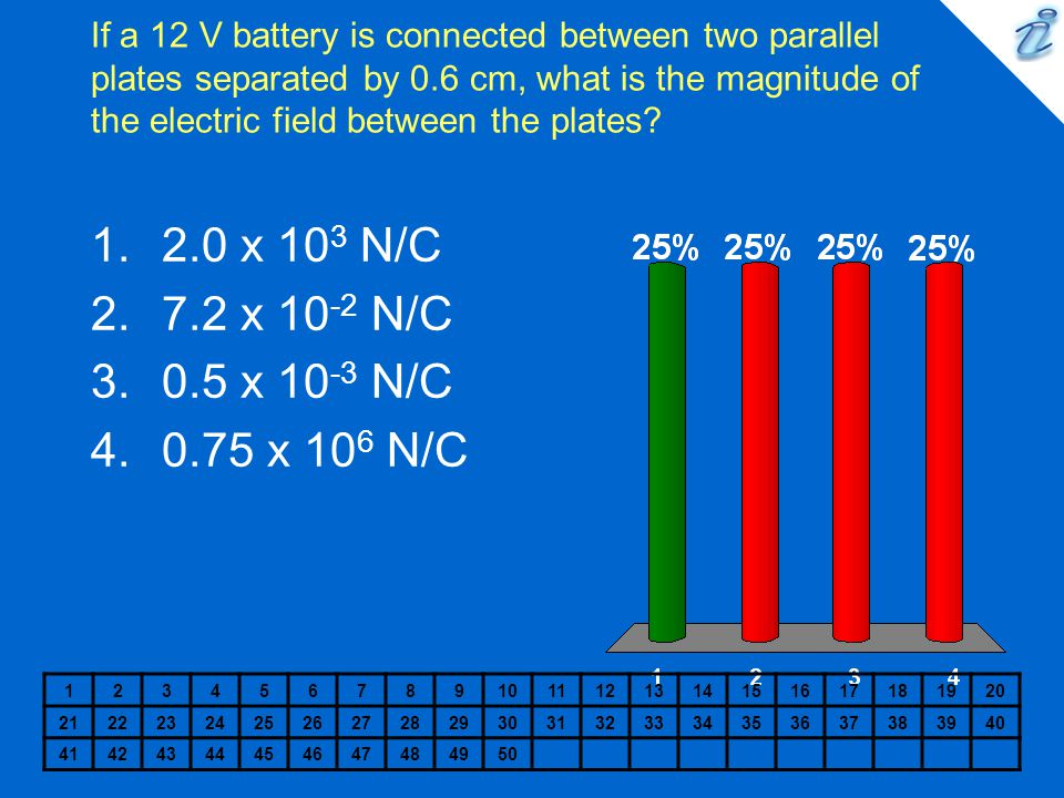If a 12 V battery is connected between two parallel plates separated by 0.6 cm, what is the magnitude of the electric field between the plates