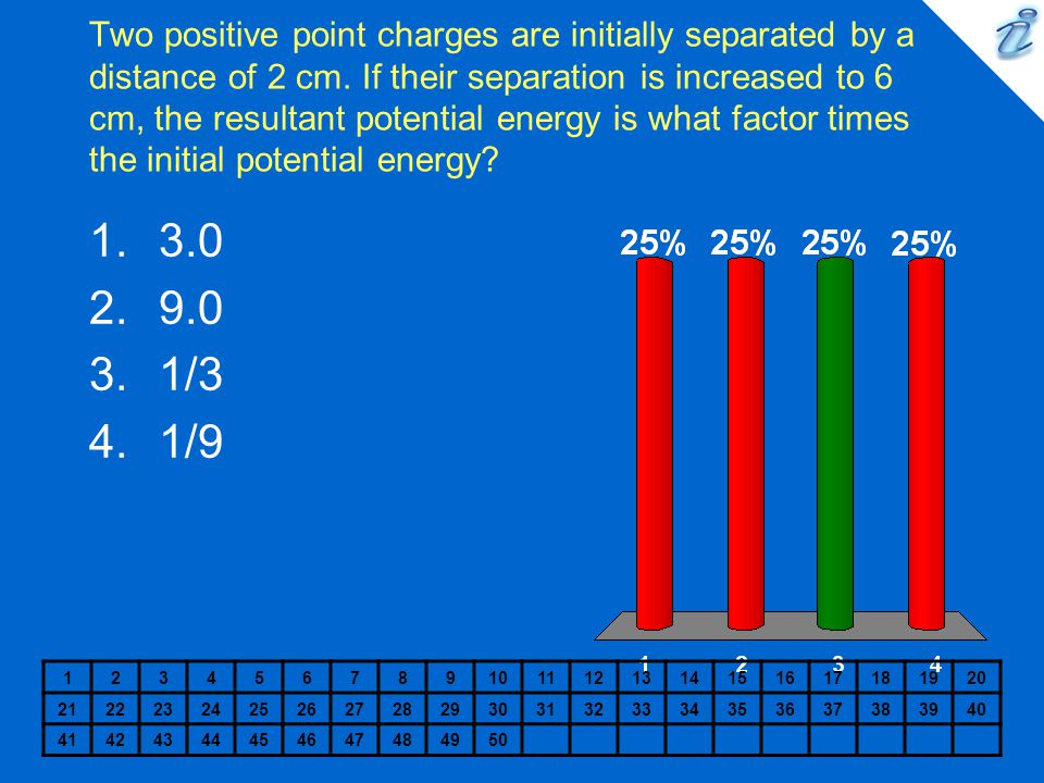 Two positive point charges are initially separated by a distance of 2 cm. If their separation is increased to 6 cm, the resultant potential energy is what factor times the initial potential energy