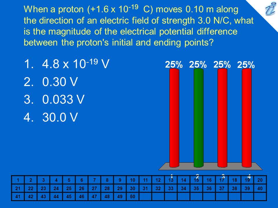 When a proton (+1. 6 x 10-19 C) moves 0
