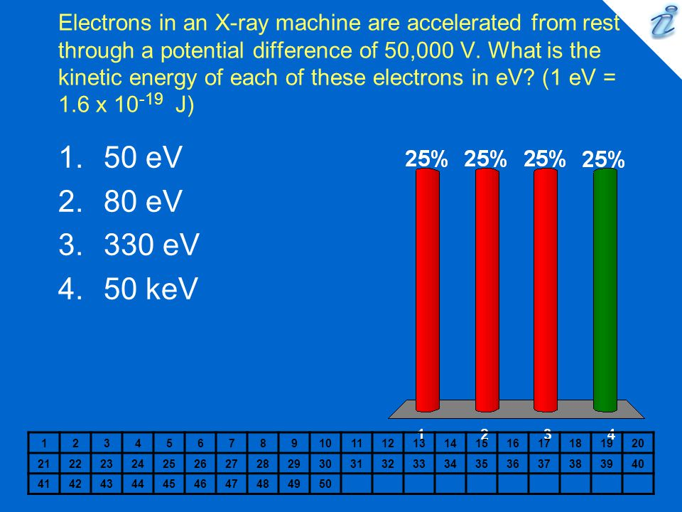 Electrons in an X-ray machine are accelerated from rest through a potential difference of 50,000 V. What is the kinetic energy of each of these electrons in eV (1 eV = 1.6 x 10-19 J)
