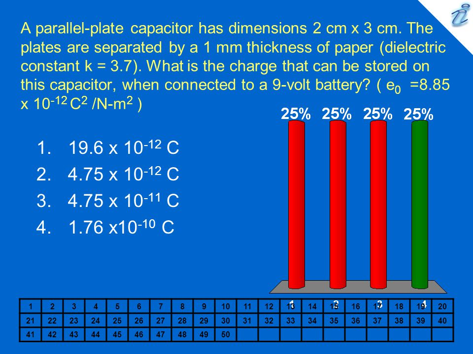A parallel-plate capacitor has dimensions 2 cm x 3 cm