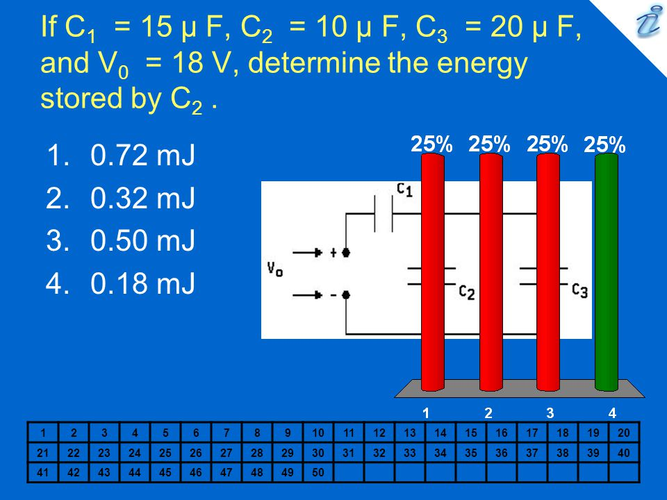 If C1 = 15 µ F, C2 = 10 µ F, C3 = 20 µ F, and V0 = 18 V, determine the energy stored by C2 .