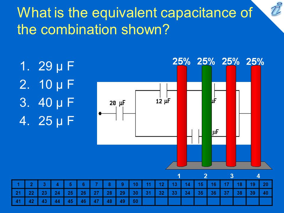What is the equivalent capacitance of the combination shown