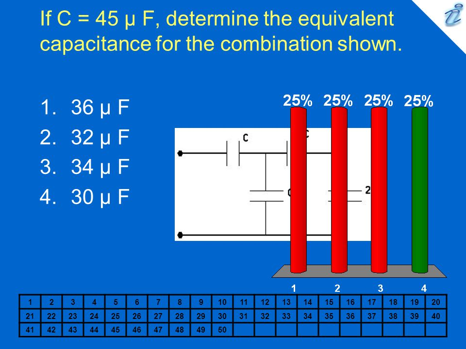 If C = 45 µ F, determine the equivalent capacitance for the combination shown.