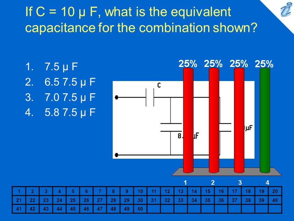 If C = 10 µ F, what is the equivalent capacitance for the combination shown