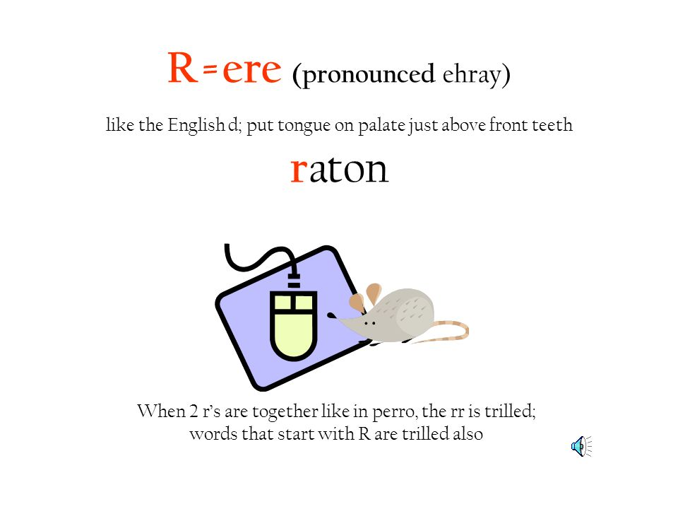 R=ere (pronounced ehray) like the English d; put tongue on palate just above front teeth raton