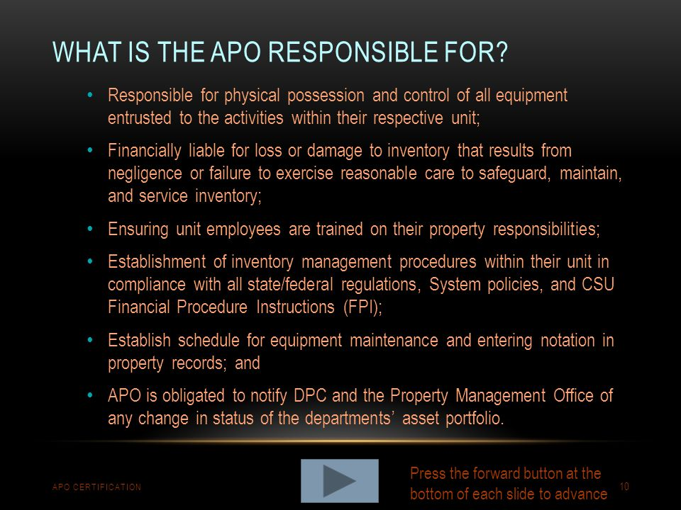 What is the APO responsible for