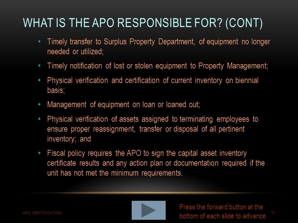 What is the APO responsible for (cont)