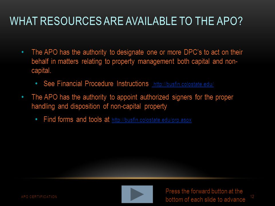 What resources are available to the apo