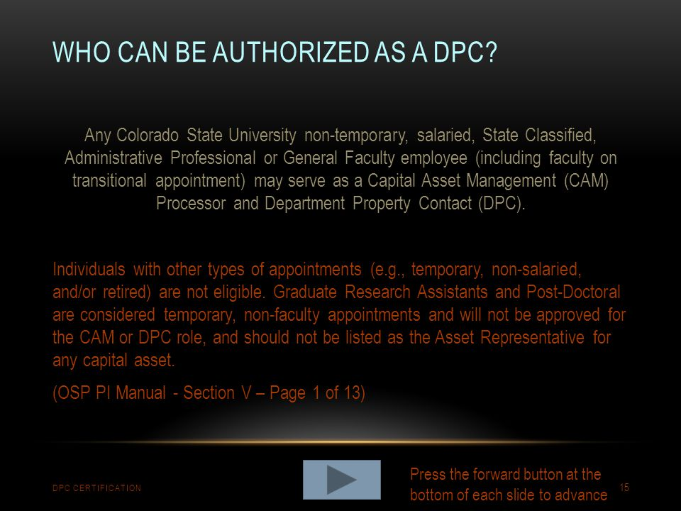 Who can be authorized as a dpc