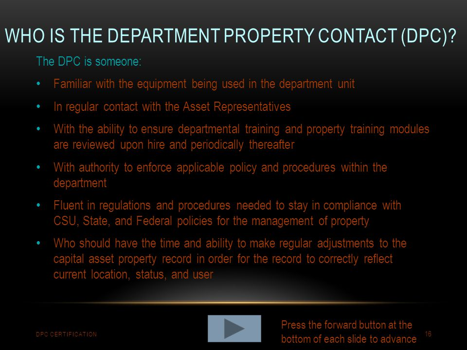 Who is the Department Property Contact (DPc)