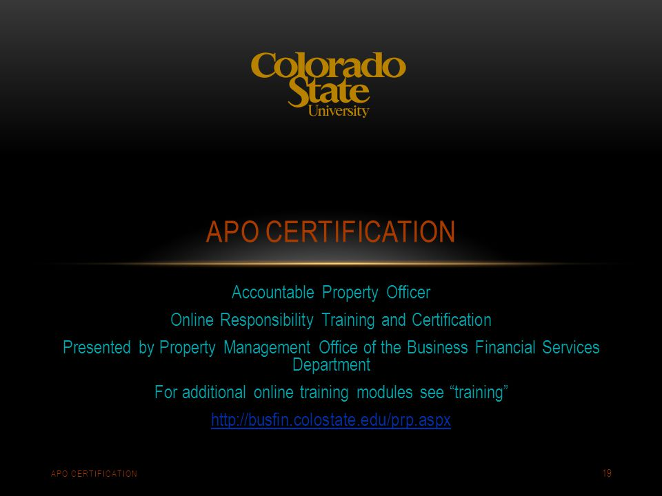 apo certification Accountable Property Officer