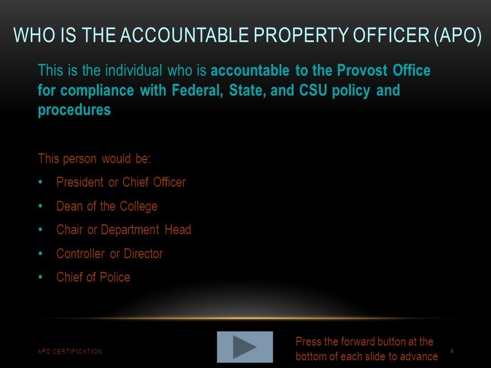 Who is the Accountable Property Officer (APO)