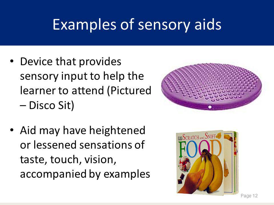 Examples of sensory aids