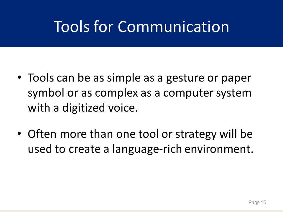 Tools for Communication