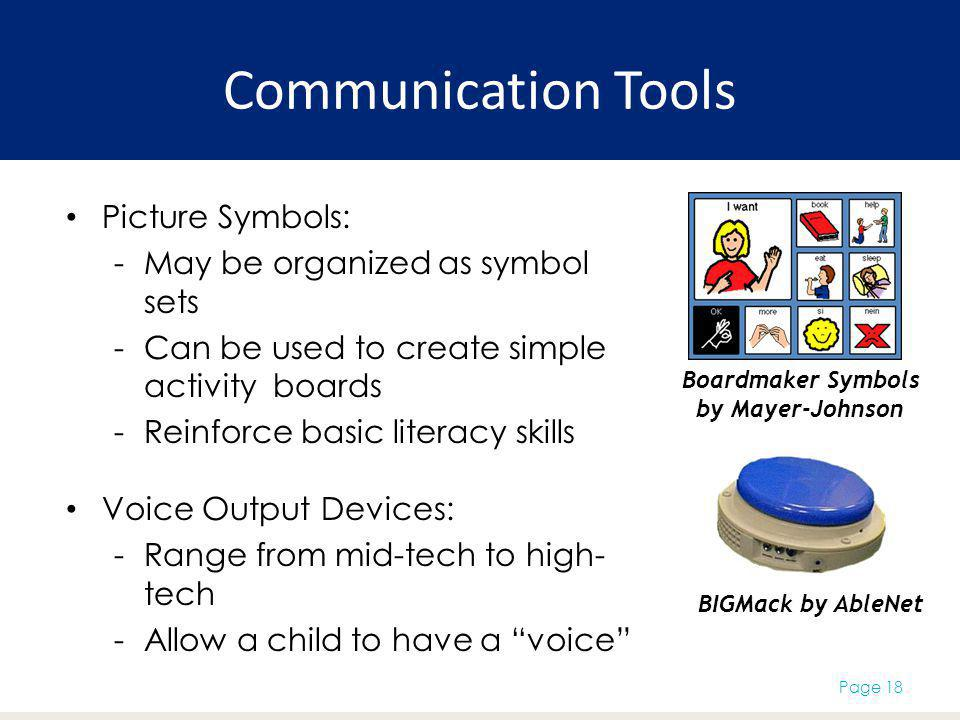 Communication Tools Picture Symbols: May be organized as symbol sets