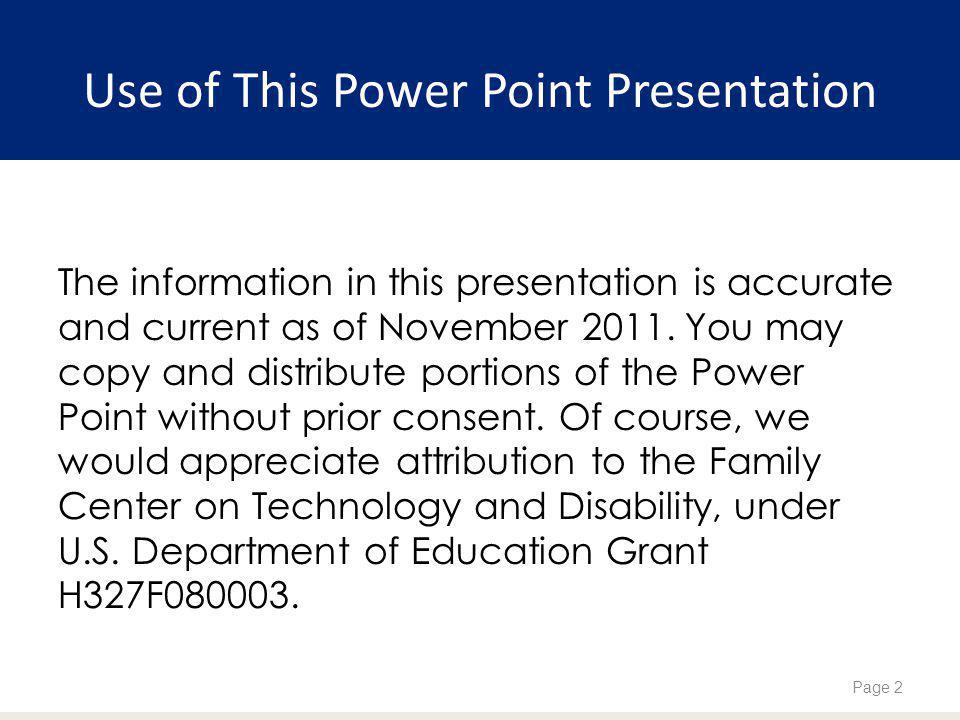 Use of This Power Point Presentation
