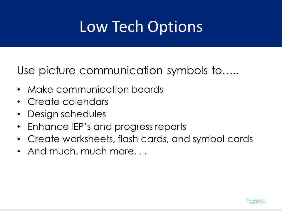 Low Tech Options Use picture communication symbols to…..