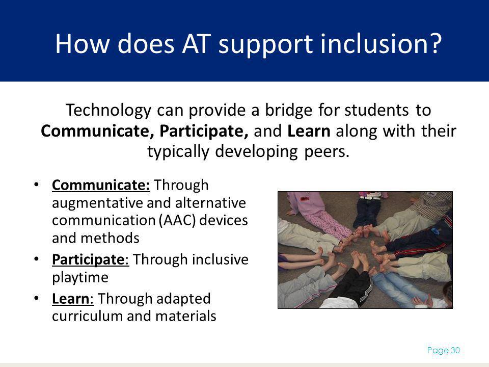 How does AT support inclusion