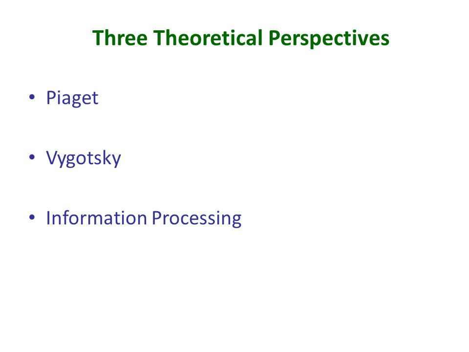 Three Theoretical Perspectives