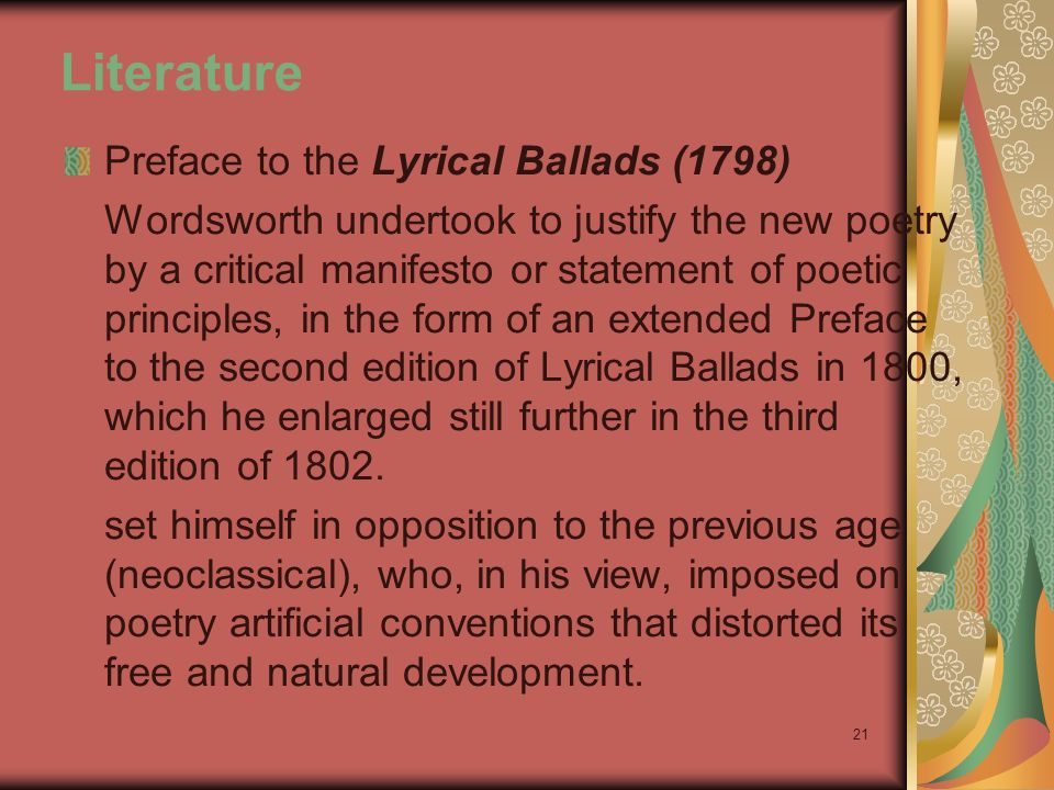 Summary To Preface To The Lyrical Ballads