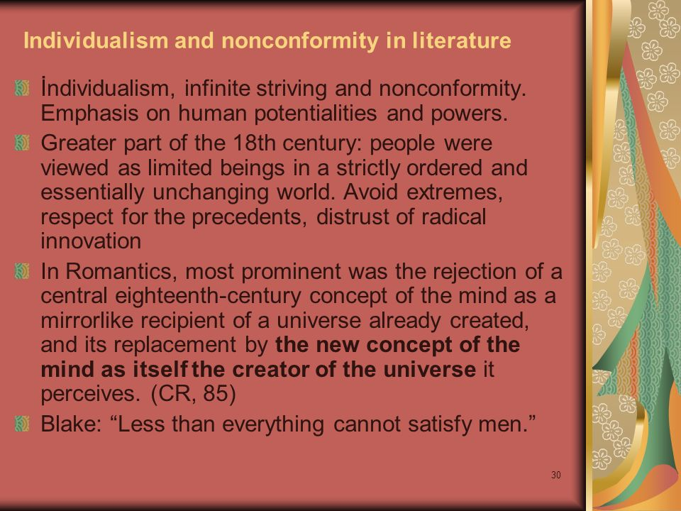 Individualism and nonconformity in literature
