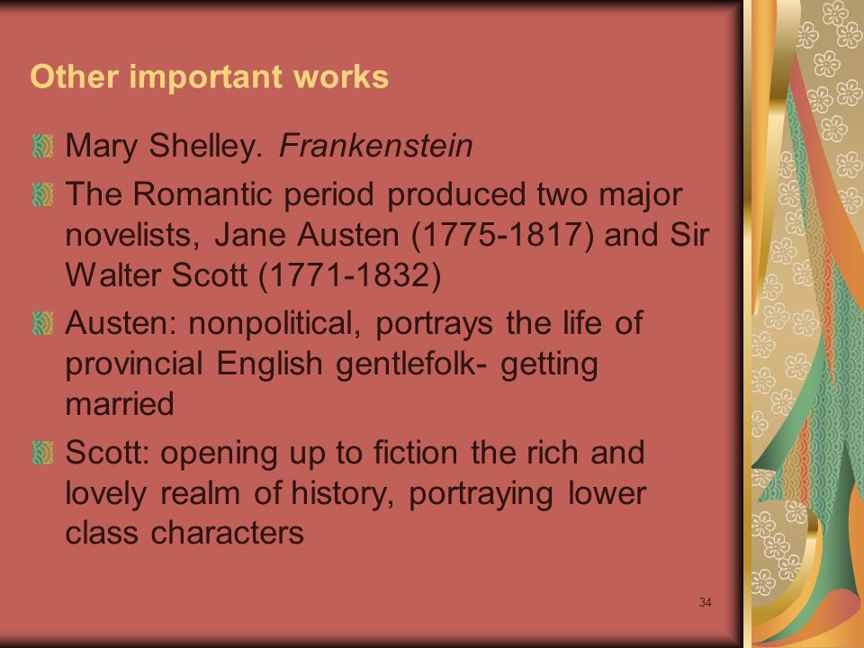 Other important works Mary Shelley. Frankenstein.
