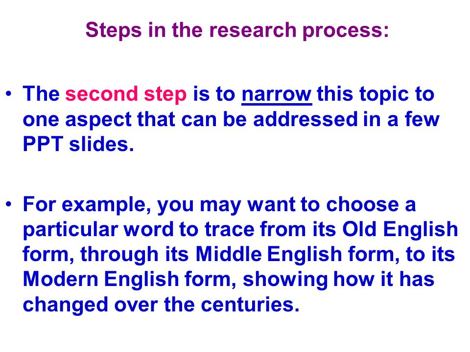 Steps in the research process: