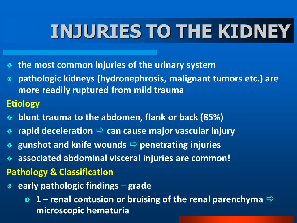 INJURIES TO THE KIDNEY the most common injuries of the urinary system