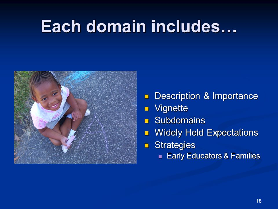 Each domain includes… Description & Importance Vignette Subdomains