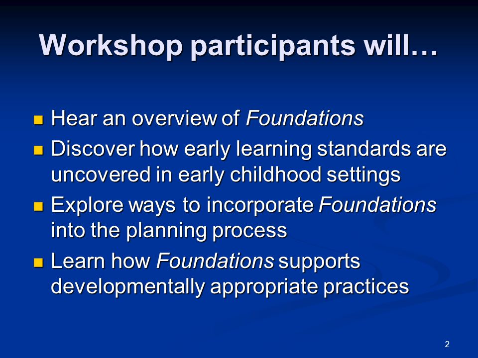 Workshop participants will…