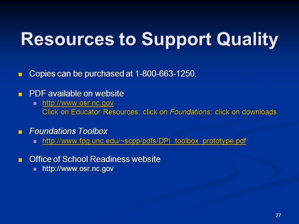 Resources to Support Quality