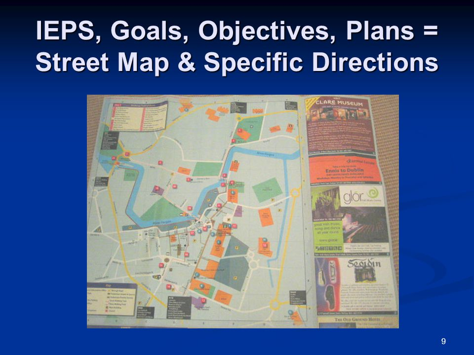 IEPS, Goals, Objectives, Plans = Street Map & Specific Directions