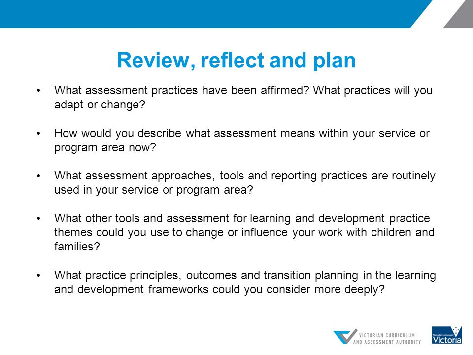 Review, reflect and plan