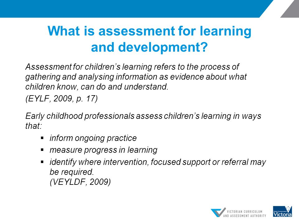 What is assessment for learning and development