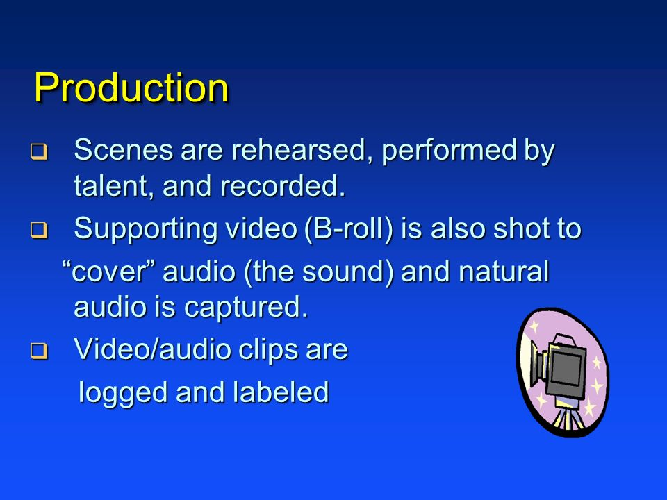 Production Scenes are rehearsed, performed by talent, and recorded.